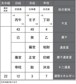 倉科カナさんの四柱推命式