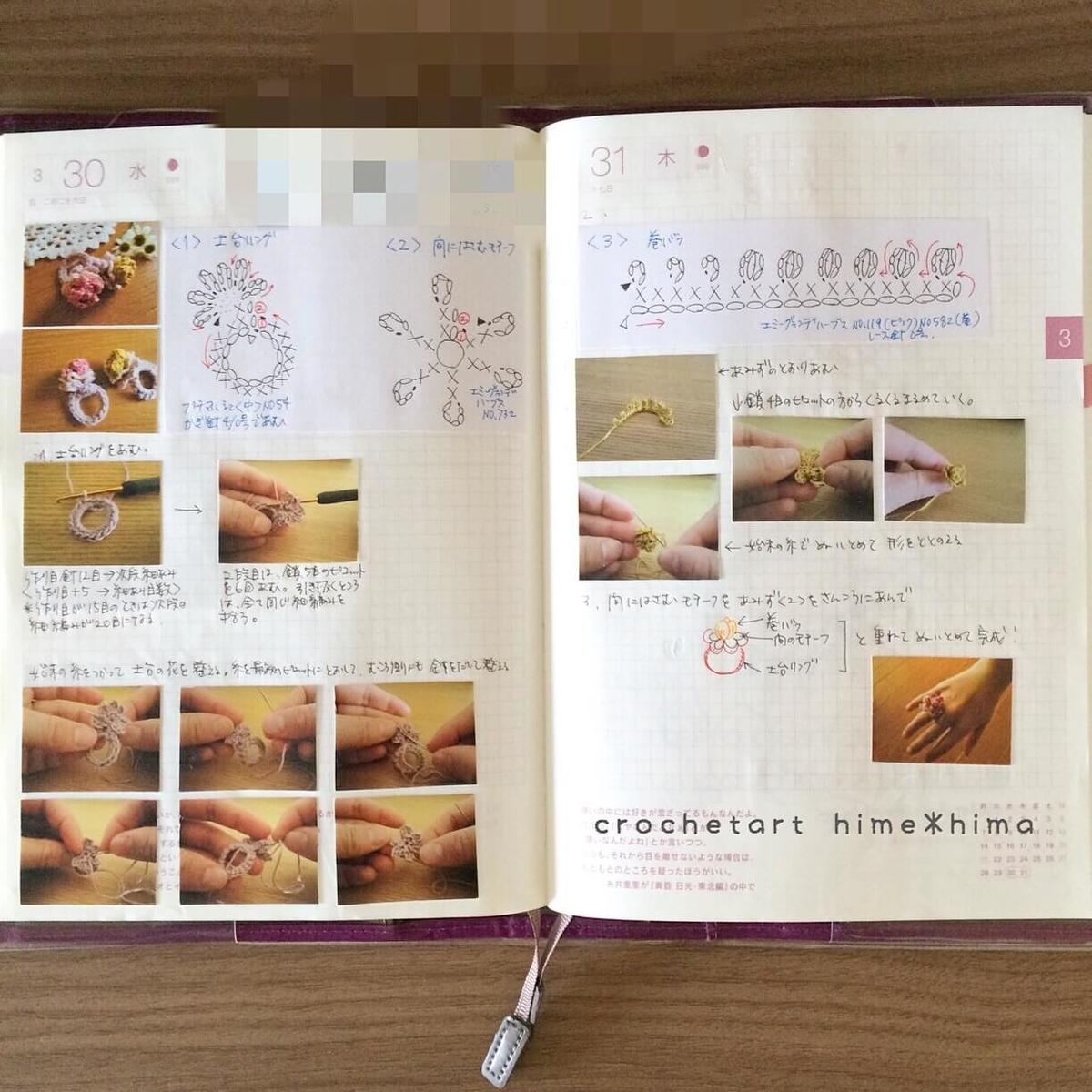 ほぼ日手帳に描いた指輪の編み図