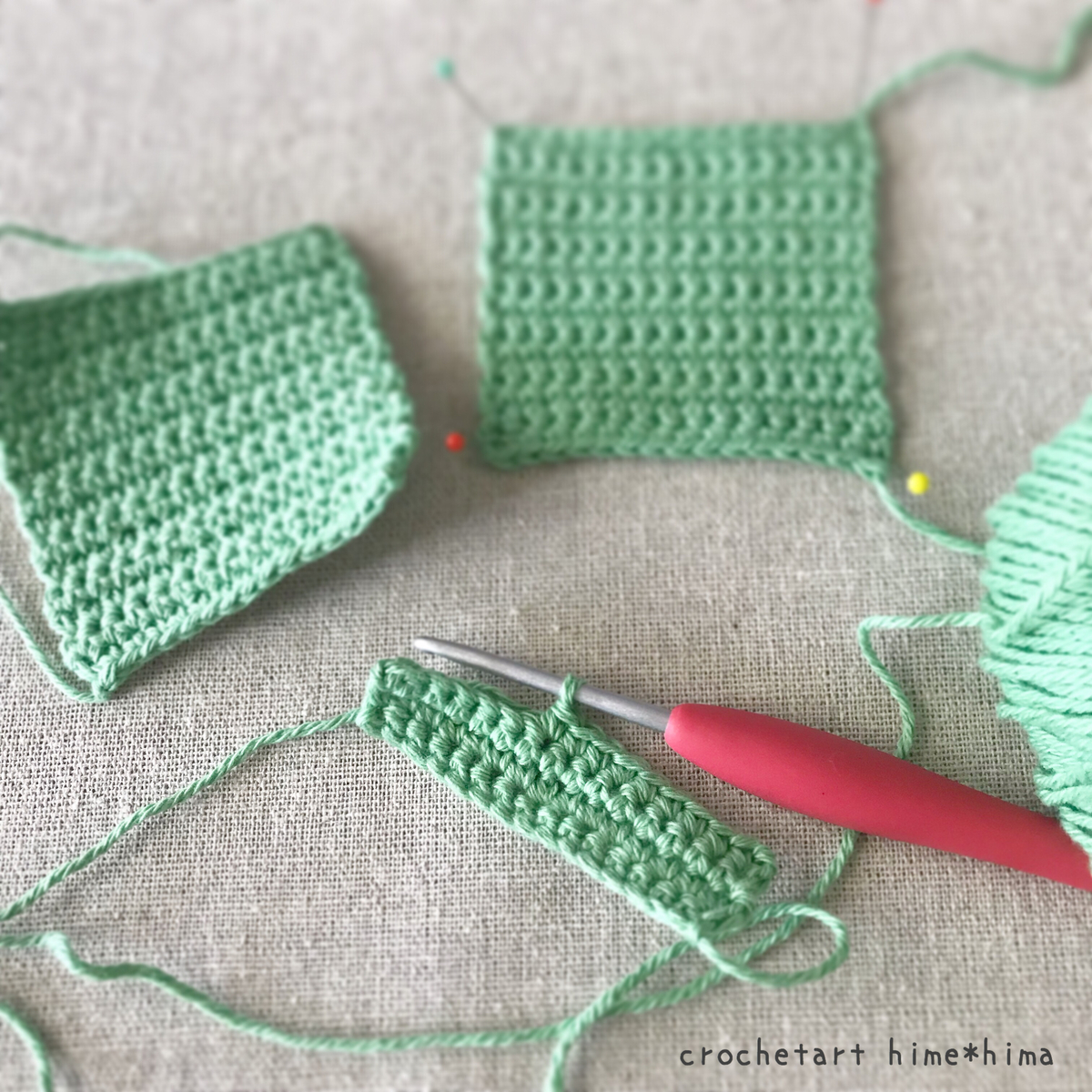 ハマナカのPaume(ポーム)オーガニックコットン100%で細編みの正方形