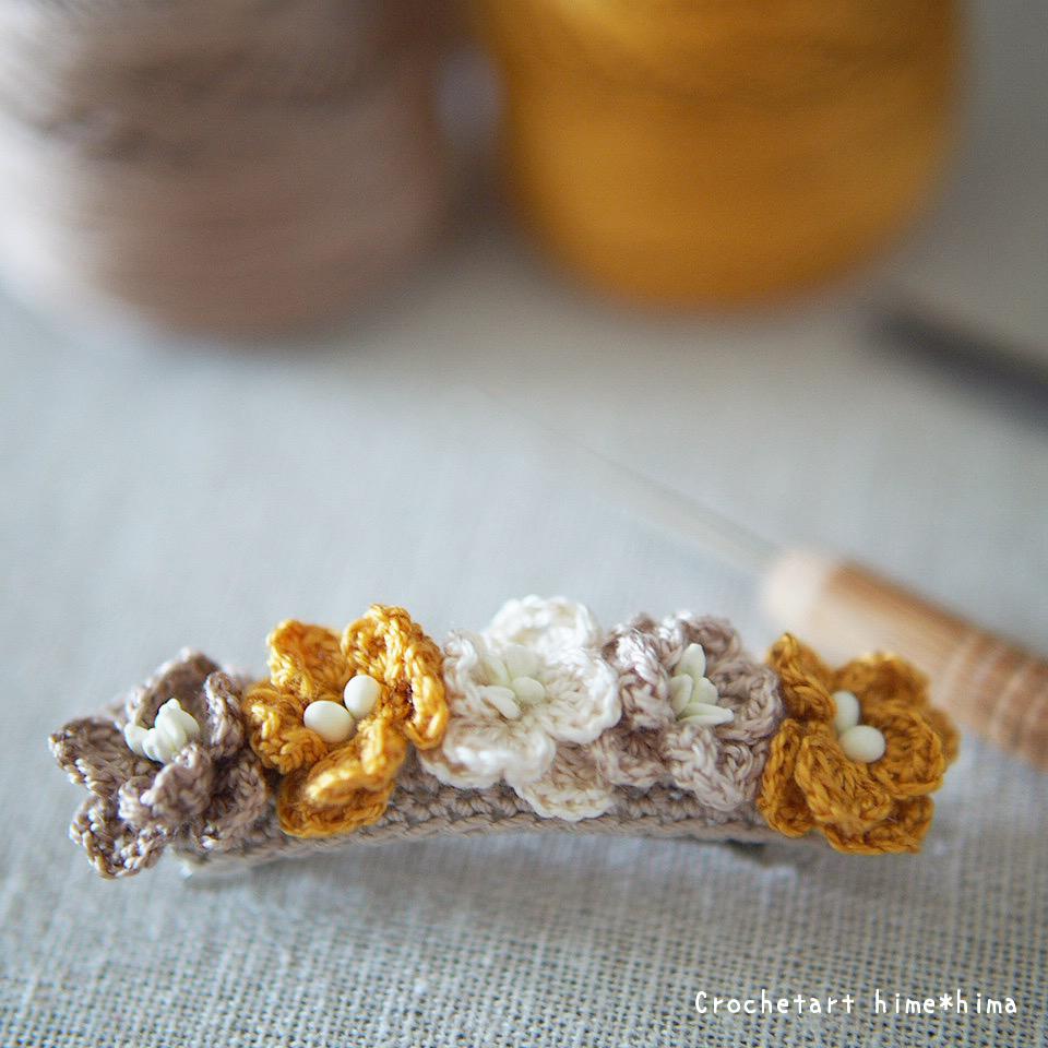 花のバレッタピン刺繍糸バージョン