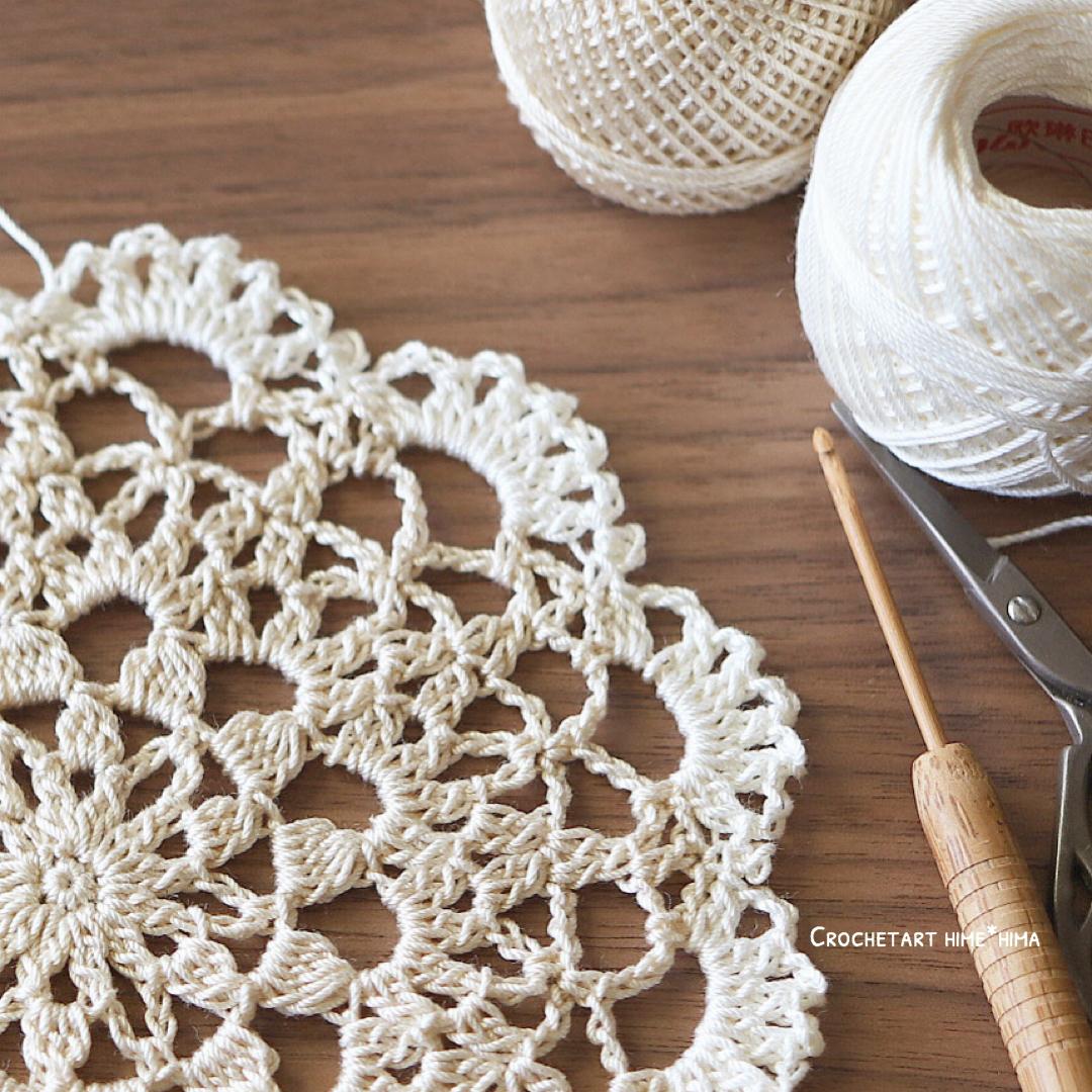 タティングレース糸〈太〉とエミーグランデを使って編んだドイリー