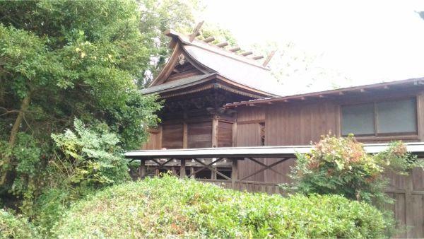 御穂神社の本殿を左側から見た図