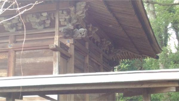 御穂神社の本殿の背面