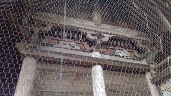 穂見諏訪十五所神社の本殿右側面の妻壁