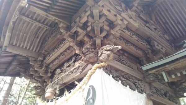 矢彦神社拝殿の右斜めの図