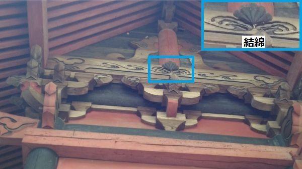 春日神社本殿の妻壁