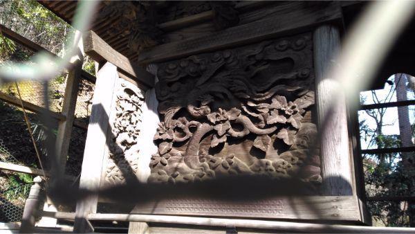 諏訪神社本殿の左側面