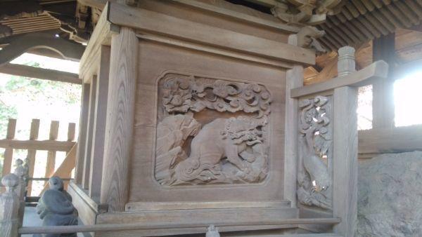 諏訪神社境内社の壁面