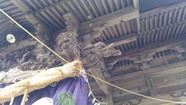 蚊里田八幡宮拝殿の木鼻