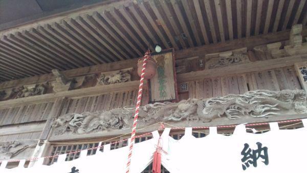 葛山落合神社拝殿の正面軒下