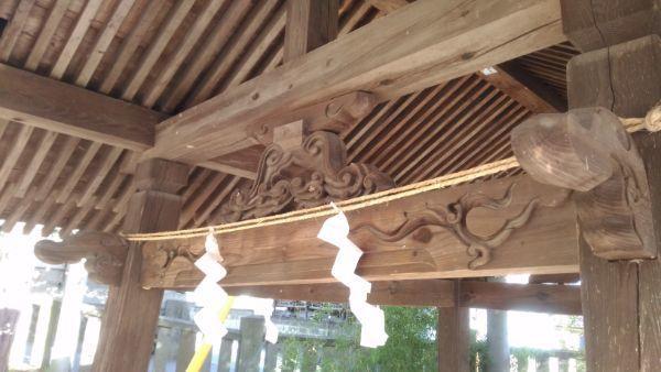 坂城神社の手水舎の軒下