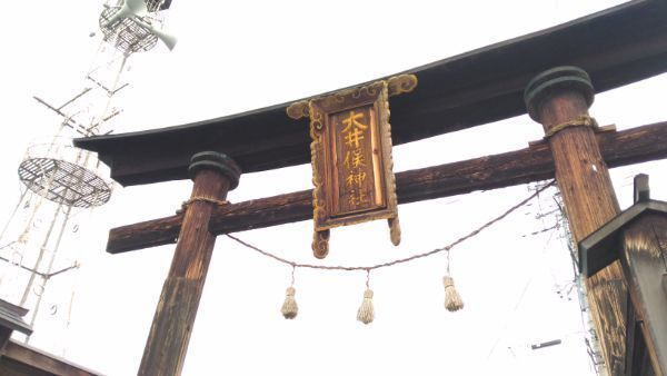 大井俣窪八幡神社の鳥居の扁額