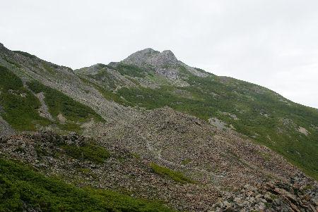 20090820 3農鳥岳(大門沢下降点付近より)