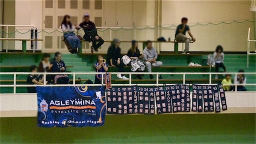 清水総合運動場体育館のスタンドと横断幕