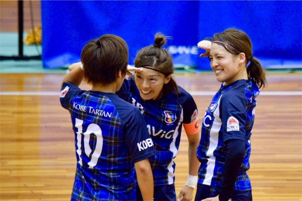 ゴールパフォーマンスの敬礼ポーズ、今回は加藤正美、平井佑果、若林エリの3人で