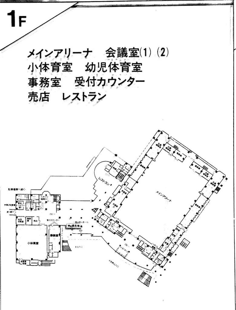 町田市立総合体育館の館内案内図1階