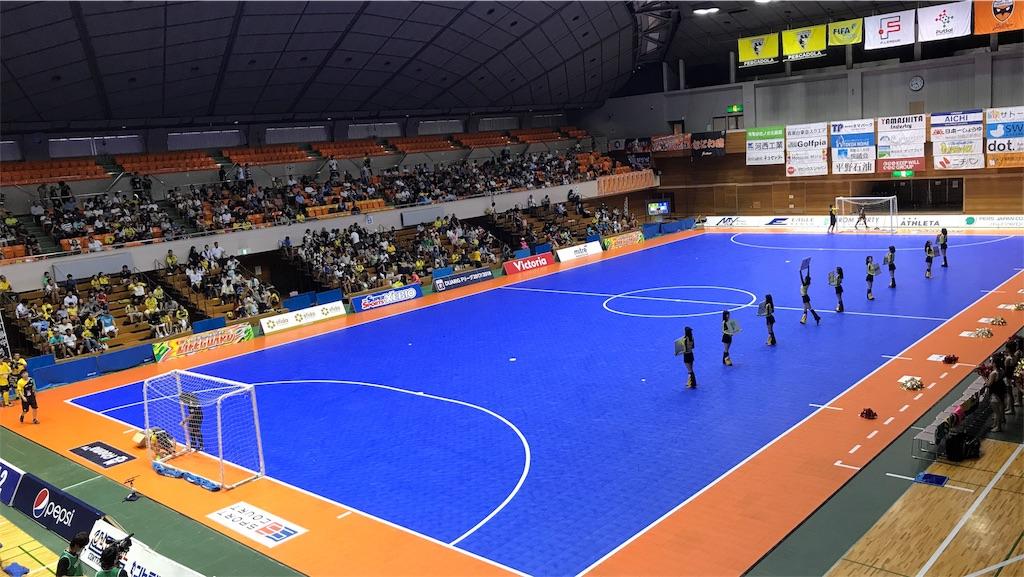 町田市立総合体育館のピッチと観客席①