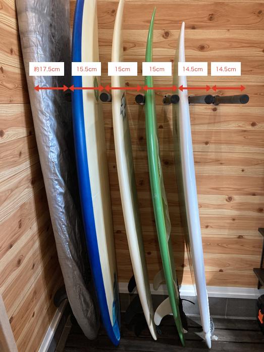 サーフボードラック DIY 簡単 寸法 間隔