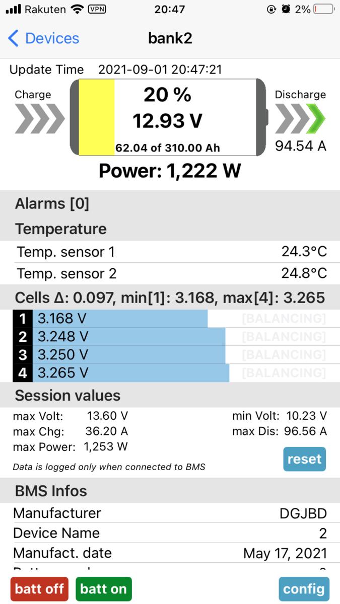 LiFePO4 リン酸鉄リチウムバッテリー 充放電テスト スマートBMS