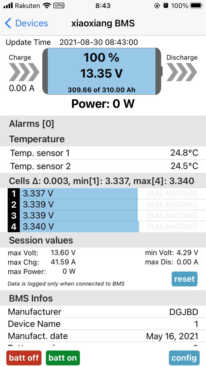 LiFePO4 リン酸鉄リチウムバッテリー 生セル スマートBMS 電圧 バラつき
