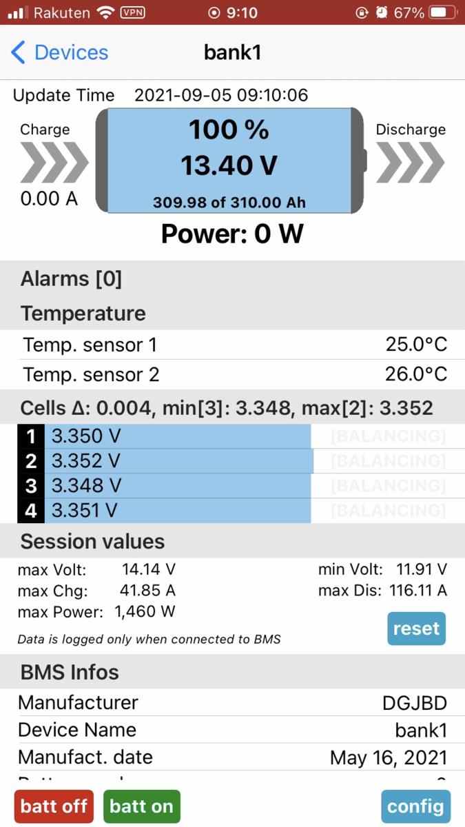 リン酸鉄リチウムバッテリー 満充電 生セル 電圧 BMS