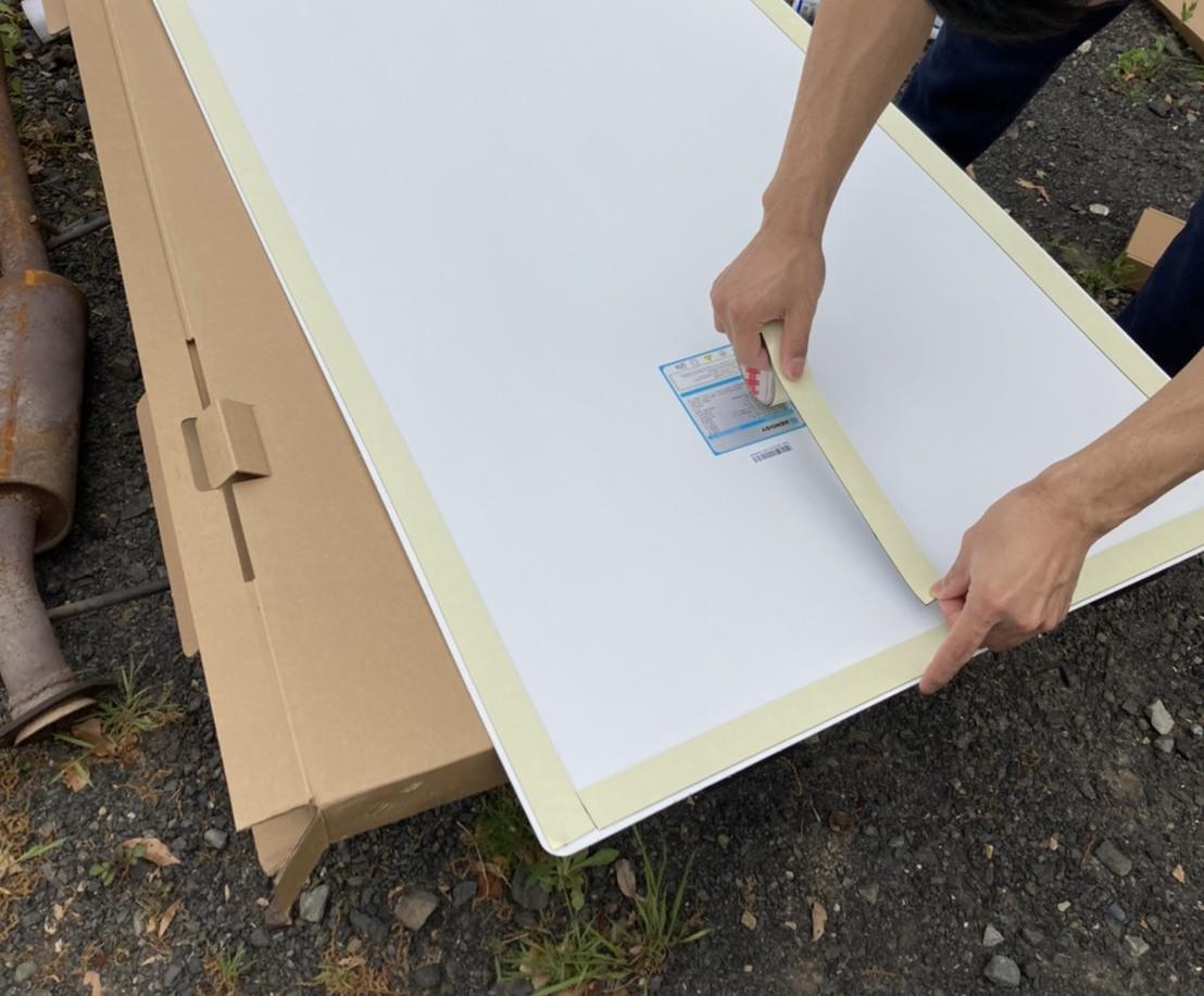 キャンピングカー フレキシブルソーラーパネル DIY 設置 両面テープ