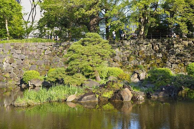 心字池と江戸城の塀
