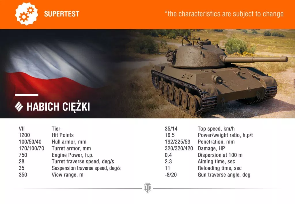 WOT】ポーランド Tier 7 重戦車 45TP Habich Ciężki 車輌性能と