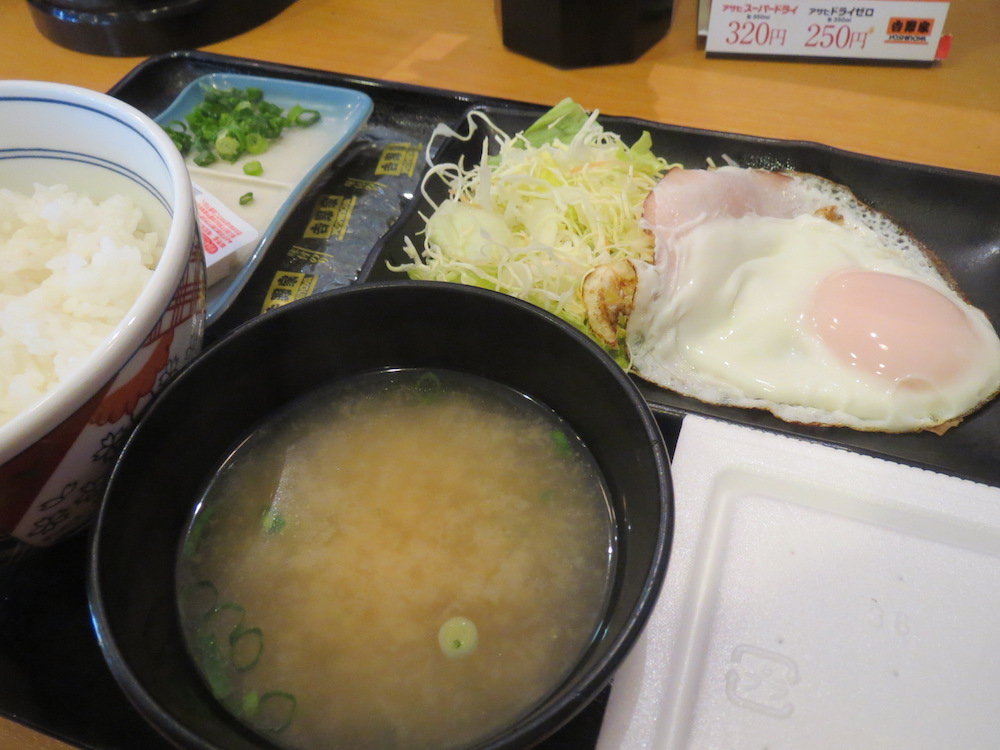 2013年ハムエッグ納豆定食