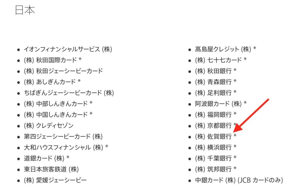 Apple Pay 佐賀銀行