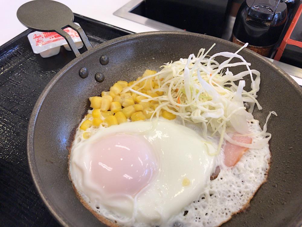 吉野家 ハムエッグ定食 フライパン