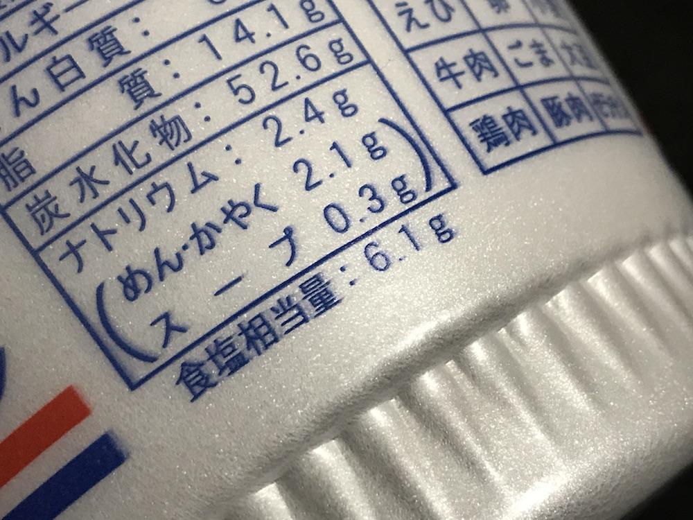 ペヤングヌードル 食塩相当量