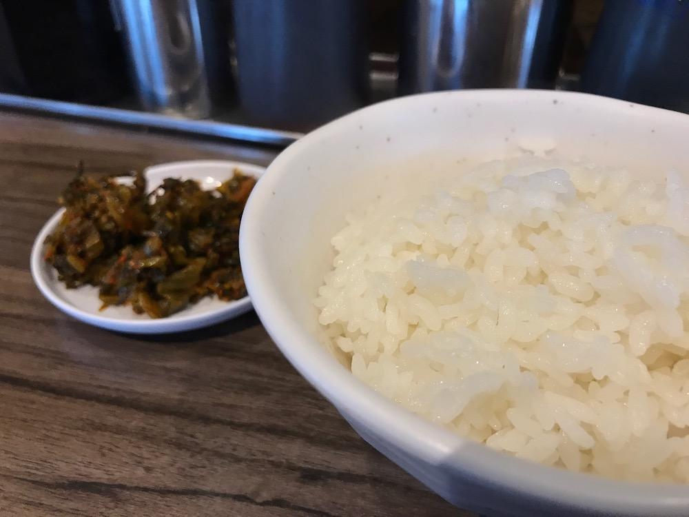 ふくの家本庄店 辛子高菜と白ごはん(小)100円