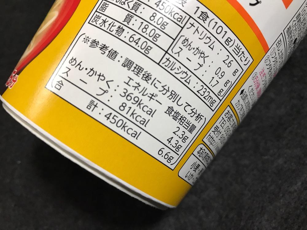 マルタイ縦型ビック長崎ちゃんぽん 食塩相当量