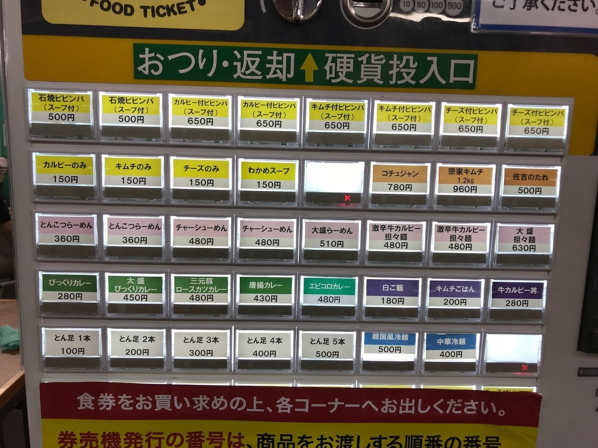 びっくり食堂 食券機