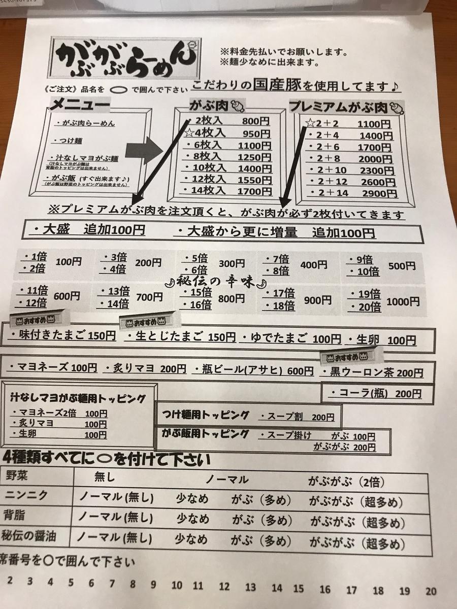 2019.6がぶがぶらーめん本店 注文票