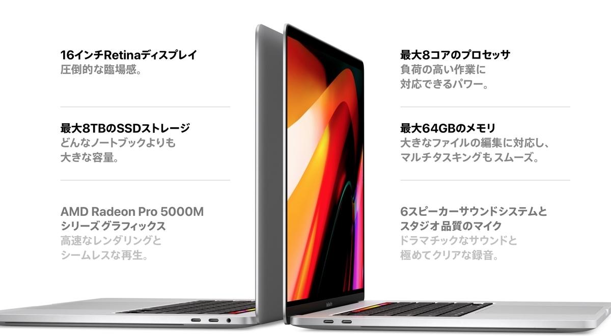 MacBook Pro16 スペック