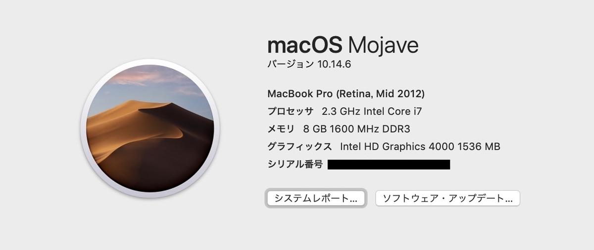 2019年まで使用しているMacBook Pro Retina15 Mid2012