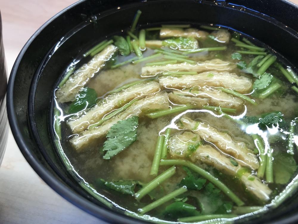 季節の天丼ランチ あおさ入り味噌汁