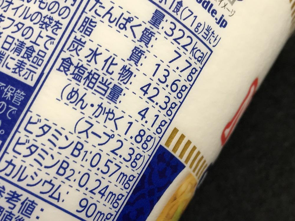 カップヌードル魚介仕立てのペペロンチーノ 食塩相当量