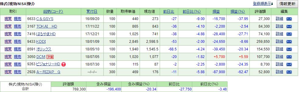 株式(NISA)資産状況