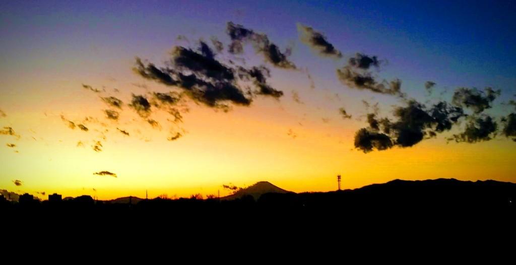 2018年末、夕映えの富士山