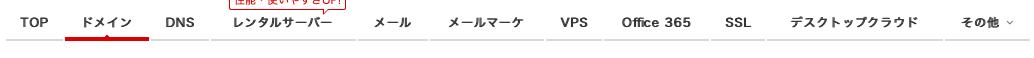 お名前.com グローバルメニュー DNS