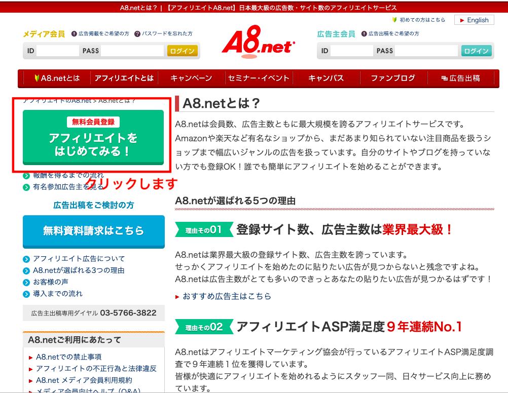 A8net アカウント登録 トップ