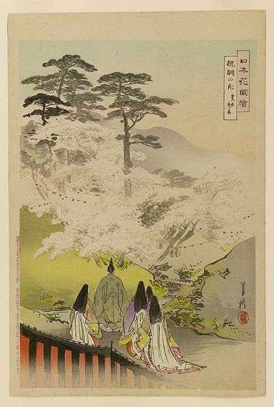 尾形月耕・日本花図絵・醍醐の花見 豊臣秀吉