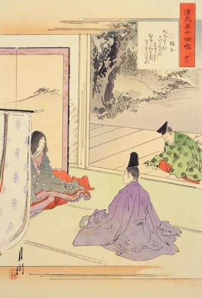46尾形月耕・源氏物語五十四帖・椎本:plain
