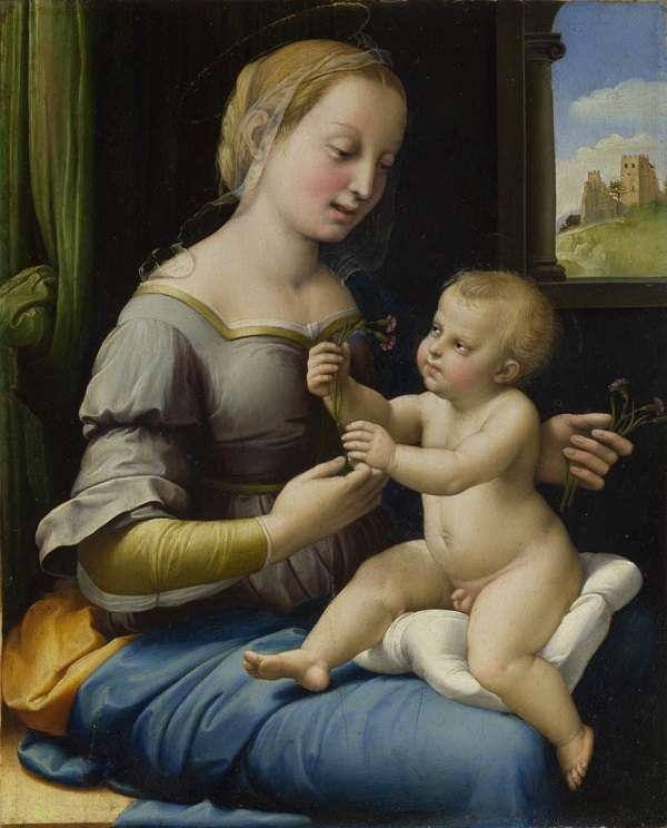 The National Gallery The Madonna of the Pinks ('La Madonna dei Garofani')  Raffaello Santi