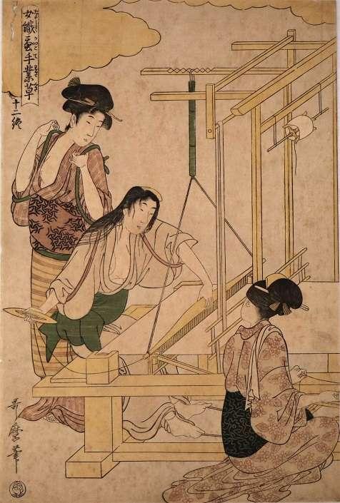 女織蚕手業草 十二 喜多川歌麿