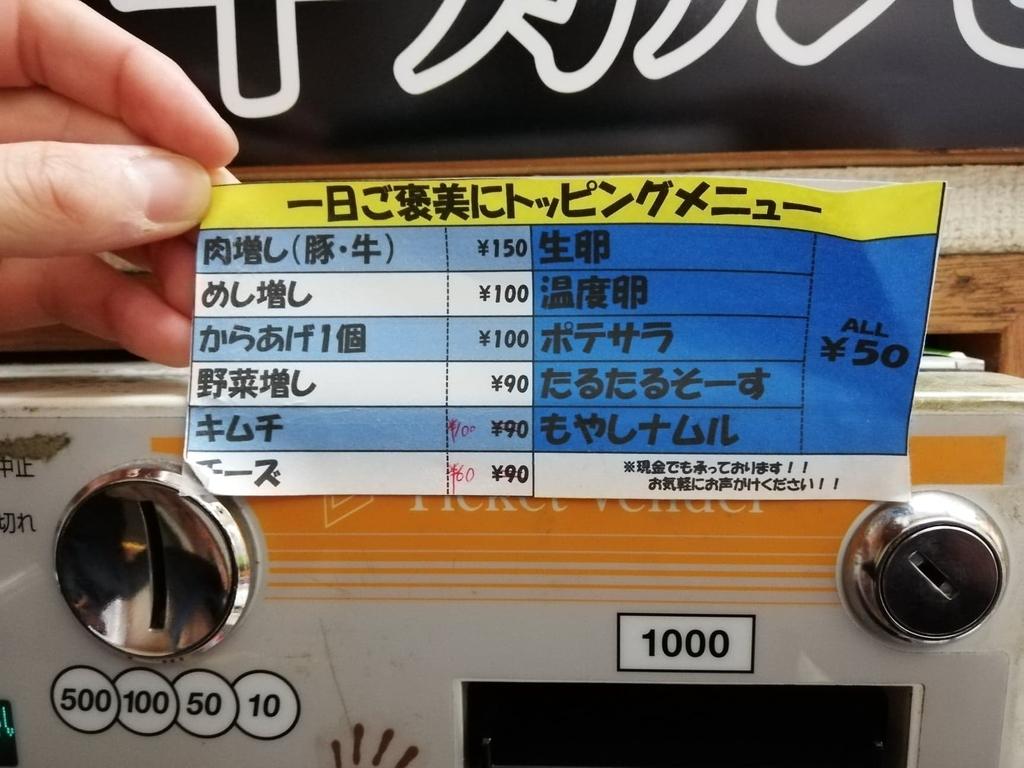吉祥寺『どんぶり』のトッピングメニュー