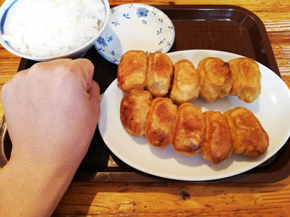 亀有『ホワイト餃子』の焼き餃子セットと拳のサイズ比較写真